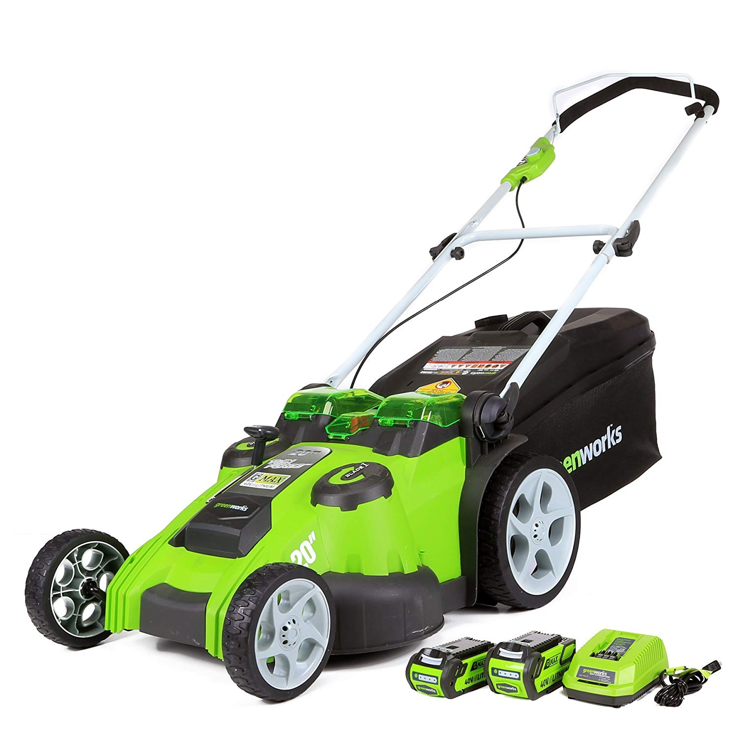 (25302) 20-Inch Cordless Lawn Mower From Greenworks with Battery and Charger