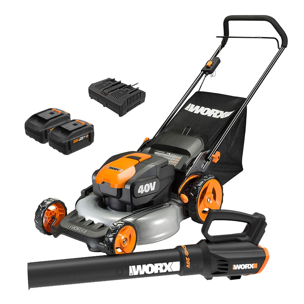 (WG960) 20-inch Cordless Lawn Mower + Blower from Worx